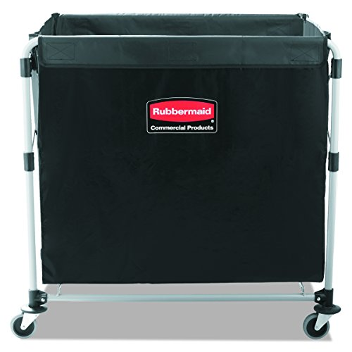 Rubbermaid Commercial Collapsible X-Cart, Steel, 8 Bushel Cart, 36″ L x 7″ W x 34″ H, Black (1881750)