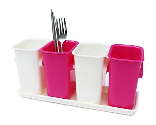 Honla Flatware/Silverware Caddy Holder with Plastic Tray Set