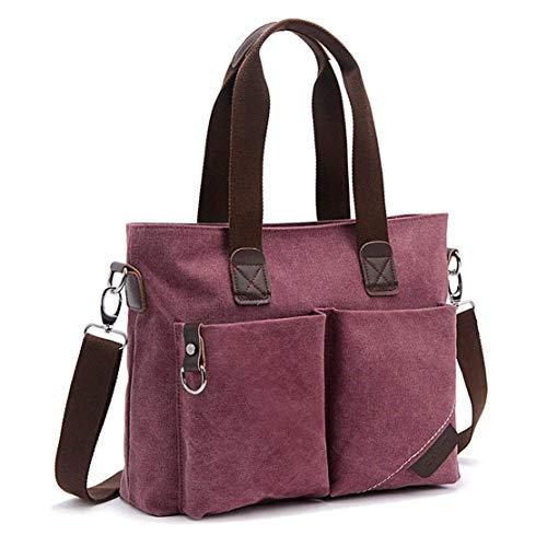 Tote Canvas Handbag (ToLFE Women Top Handle Satchel Handbags Tote Purse Shoulder Bag (Purple))