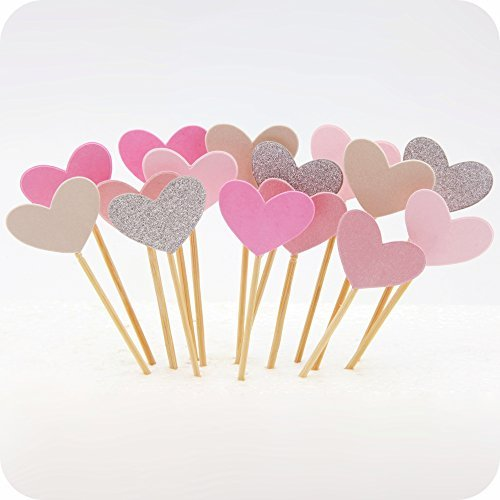 Cupcake Toppers 50Pcs Set, GUGUJI Funny Pink Heart DIY Glitter Mini Birthday Cake Snack Decorations Picks Suppliers Party Accessories for Wedding and Baby Shower
