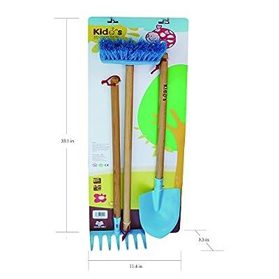 Worth KIDS GARDEN TOOL SET 3 Piece-Gardening Tool Set, Rake, Broom, Trowel for Kids FULL KIDS GARDENING SET