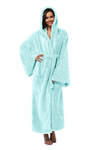 Long Mint (Vogue Bridal Unisex Soft Plush Coral Fleece Robe Plus Long Hooded Spa Bathrobe, Mint Green L/XL)