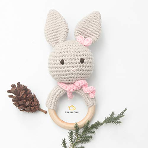 (The Bunny Baby Gift Rattle Animals Toddlers Toy Baby Doll - Handmade Toys - Baby Accessories - Crochet Toys - Stuffed Doll (6))