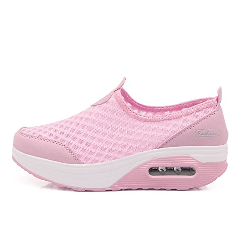 Enllerviid Femmes Slip-on Forme Athlétique Chaussures De Fitness Poids Léger Plateforme Mode Sneakers 7763 Rose