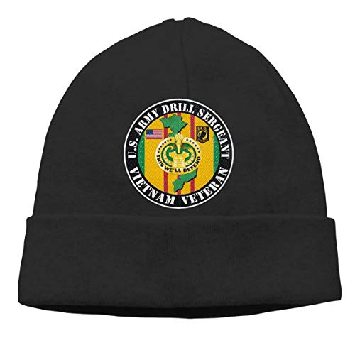 U.S. Army Drill Sergeant Vietnam Veteran Unisex Winter Knitting Wool Warm Hat Daily Slouchy Hats Beanie Skull Cap Black (Drill Hat Wool)