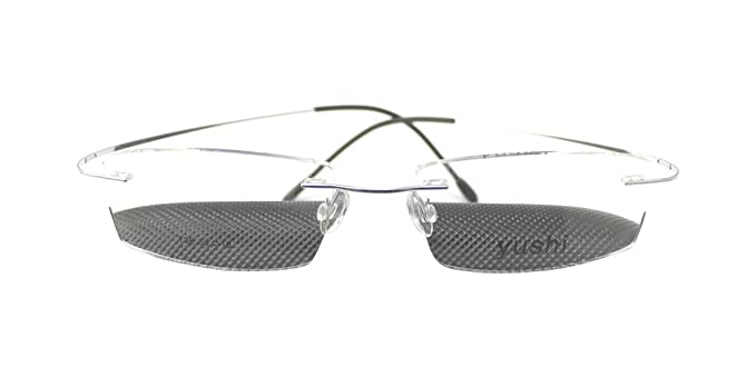 118fe25f675 Image Unavailable. Image not available for. Color  Luxury Titanium Silver  Rimless Optic Flexible Eyeglass Frame Eyewear Spectacles