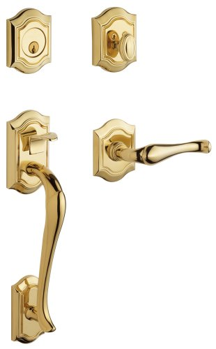 - Baldwin 85327.003.LENT Bethpage Sectional Trim Left Hand Handleset with Bethpage Lever, Lifetime Polished Brass