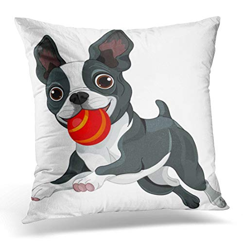 li Longe Throw Pillow Cover Red Dog of Boston Terrier Running with Ball Play Decorative Pillow Case Home Decor Square 18