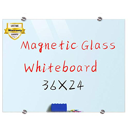 Glass Whiteboard, 3'x 2' Glass Board Magnetic Dry Erase Board on Wall Frameless ()