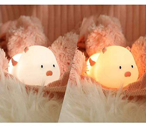 DZXGY Pink Ear Pig Silicone Night Light Cute Multicolor Rechargeable Touch Sensor Soft Kids Pressure reducing Toy Gift ()