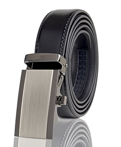 Cremson Men Gift Genuine Leather Metal Automatic Buckle Track Ratchet Dress Belt - Simple Metal Automatic Buckle/Black Leather