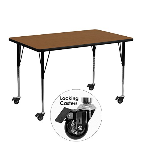 [Flash Furniture Mobile 24 by 48-Inch Rectangular Activity Table with 1.25-Inch Thick High Pressure Oak Laminate Top and Standard Height Adjustable Legs] (Computer Height Adjustable Training Table)