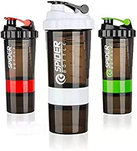 3in1 BPA Free Leakproof Spider Water Bottle Protein Powder Sports Fitness Shaker (White)