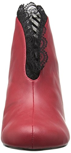 Pink 105 blk JENNA Label Lace Botas Pleaser Fuax Red Mujer Rojo Leather dwqp4BRtv