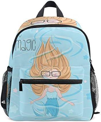 かわいい青い海の人魚幼児就学前のバックパック本袋ミニショルダーバッグリュックサック通学用1-6年旅行男の子女の子