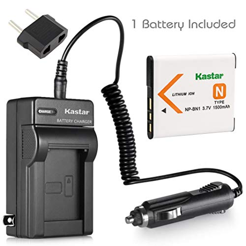 Kastar 1x Battery + Charger for Sony NP-BN1 & Cyber-shot DSC-QX10 DSC-QX30 DSC-QX100 DSC-TF1 DSC-TX10 DSC-TX20 DSC-TX30 DSC-W530 DSC-W570 DSC-W650 DSC-W800 DSC-W830 DSC-W560 DSC-T99 DSC-TX5 DSC-W320 (Sony Tx20 Accessories)