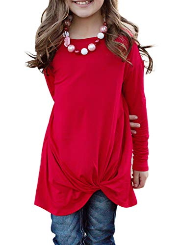 GOSOPIN Girls Casual Long Sleeve Knot Front T-Shirts Loose Tunic Tops 4-13Y Small Red