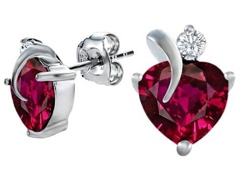 Star K 8mm Heart Shape Created Ruby Heart Earrings