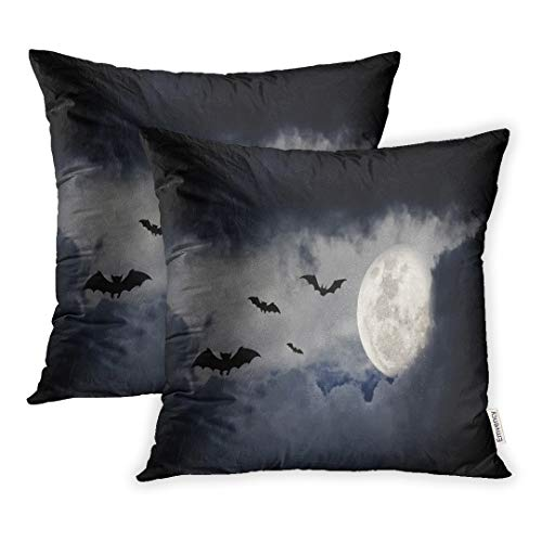 Emvency Throw Pillow Covers 20 x 20 Inches Set of 2 Spooky Halloween Naked Trees and Bats Moon Castle Pillow Case Decorative Cushion Cover Two Sides Print Pillowcase