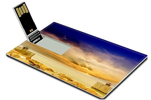 Luxlady 32GB USB Flash Drive 2.0 Memory Stick Credit Card Size Entrance of harbor with beautiful sky IMAGE ID 25726571