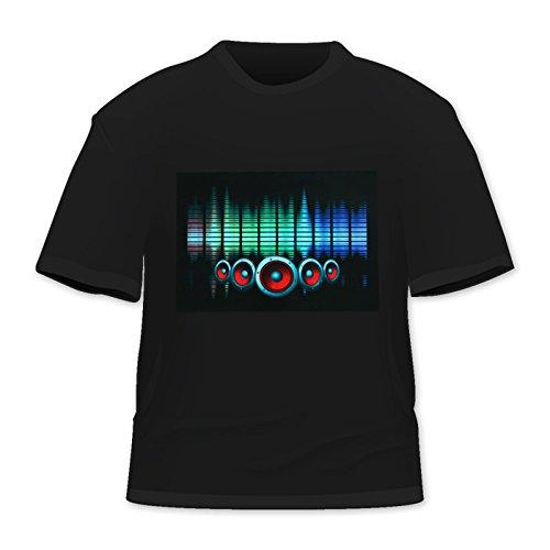 Led Sound Activated El T-shirt - OYMMENEY Men's Sound Activated Light-Up Arc Reactor LED T-Shirt