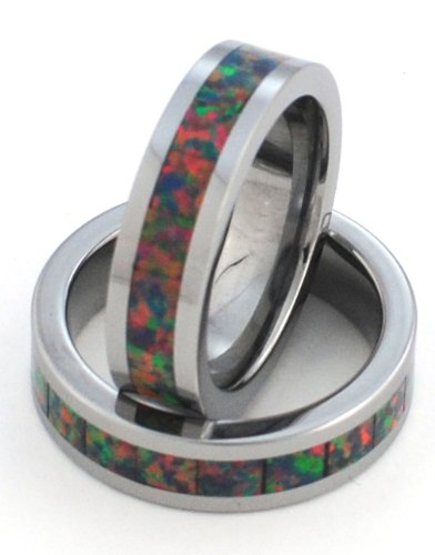 6mm Precious Opal Tungsten Ring with a Brilliant Display of Fire (Brilliant Black Fire Opal Ring)