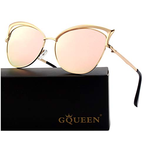 GQUEEN Women's Oversized Polarized Metal Frame Mirrored Cat Eye Sunglasses MT3