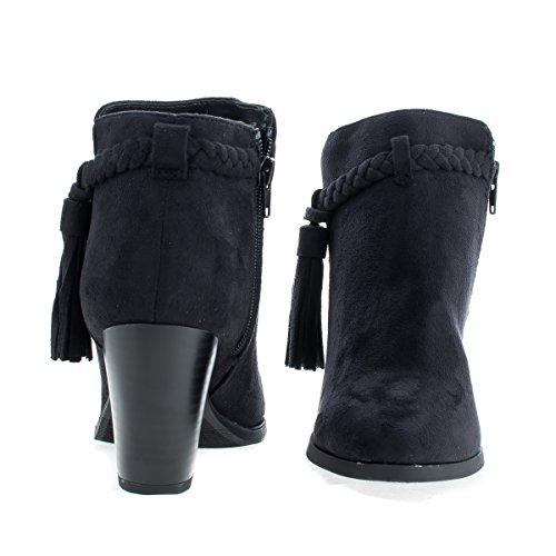 Western Dusk Stablet Høyt Hæl Ankel Boots Blacksued