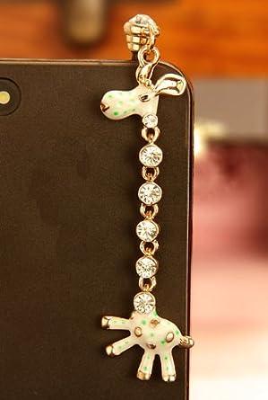 Giraffe green Bling Phone Charm,anti Dust Plug for Iphone