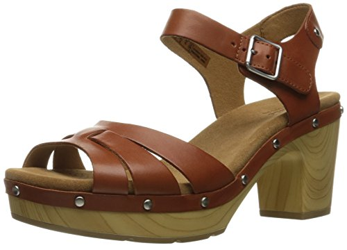 Clarks Women's Ledella Trail Heeled Sandal - Tan Leather ...