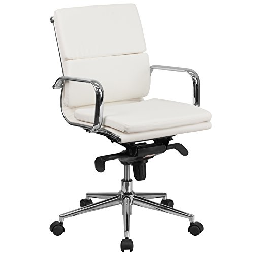 Flash Furniture Mid-Back White Leather Executive Swivel Chair with Synchro-Tilt Mechanism and Arms