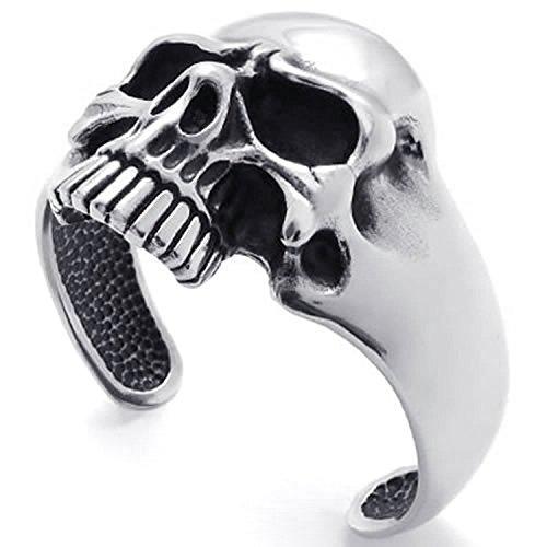 MENDINO Stainless Steel Bracelet Skull Biker Tribal Men Bangle Cuff with a Velvet Bag