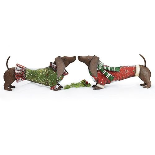 Burton & Burton Hand-Painted Tin Dachshunds Wearing Christmas Sweaters Set of - Hand Tin Painted