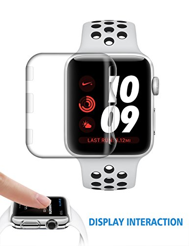 Apple Watch 3 Screen Protector 38mm | iwatch Series 3 Face Case | Plastic Protective Cover | Clear Defender | Thin Accessories Bumper by - Get Face To How Round