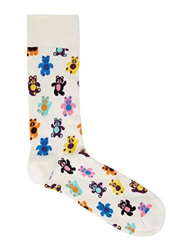 Happy Socks Unisex Teddy Bear Crew Socks (One Pair) (Ivory/Multi, 10-13)