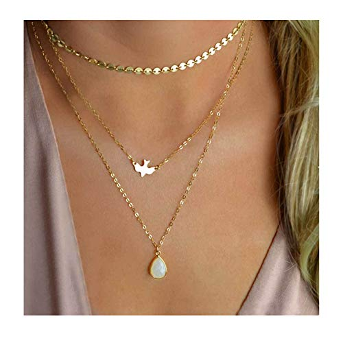 Aikooch Women Gold Plated Imitaion Pearl Resin Multilayer Necklace