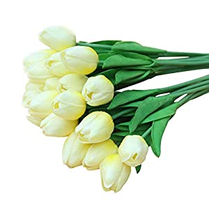 Agywell 20 Count Artificial Silk Tulip Flower 12 inches with Flowering Branches Bouquet Wedding Party Home Decor Gift for Birthday&Valentine's Day (Light Yellow) 50