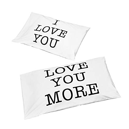 GZNIGHT I Love You & Love You More Pillowcases V-Day Gift Standard Size 220 Thread Count 100% Cotton Pillow Shams Non-Bleached Covers for Bedroom Home Decoration Set of 2 ()