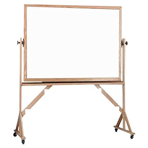 TableTop King WRBC3648 36'' x 48'' Reversible Free Standing White Melamine Markerboard / Natural Cork Board with Solid Oak Wood Frame