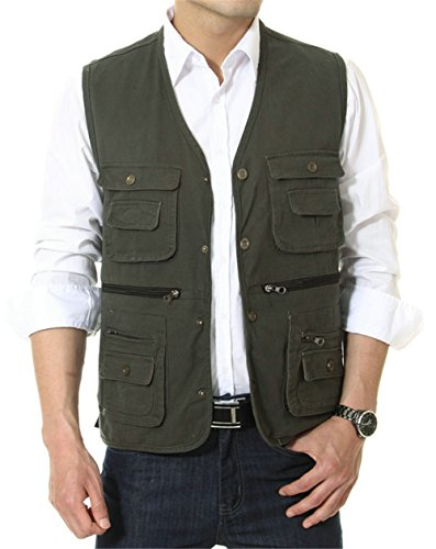 APTRO Men's 100% Cotton Outdoor Multi Pocket Vest Amy Gre...