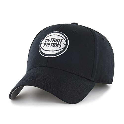 Adult Black Piston - OTS NBA Detroit Pistons All-Star Adjustable Hat, One Size, Black & White