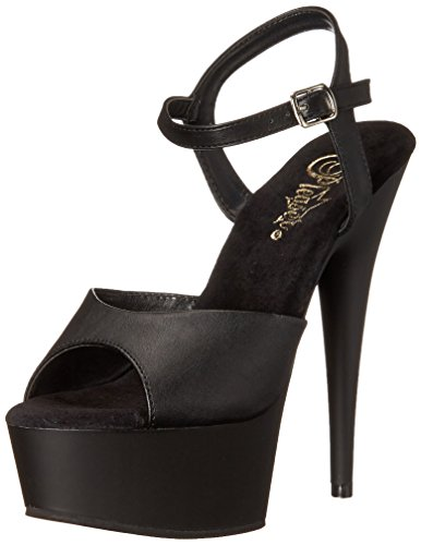 Plateau Blk Faux 609 Donna Matte Delight con Nero Leather Blk Sandali Pleaser q6wF8v5I5