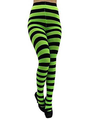 Luxury Divas Neon Green & Black Horizontal Striped Tights -