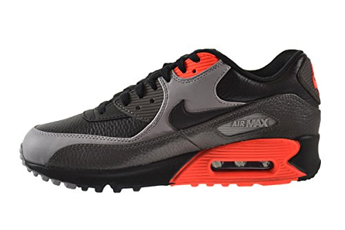 Amazon.com | Nike Air Max 90 Leather Men's Shoes Black/Black-Medium Ash-Total  Crimson 652980-002 (13 D(M) US) | Fashion Sneakers