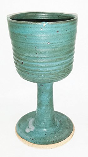 - Hand Made Clay - Ample Celtic Goblet/Chalice - Ivy Green Glazed - Beautiful to Display and Marvelous to Use - Food, Microwave, Oven And Dishwasher Safe ()