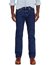 Levis Mens 501 Original Fit Jeans, Dark Stonewash, 52W x 34