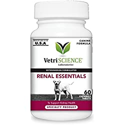 VetriScience Laboratories Renal Essentials Kidney Health Support 60 Chewable Tablets for Dogs