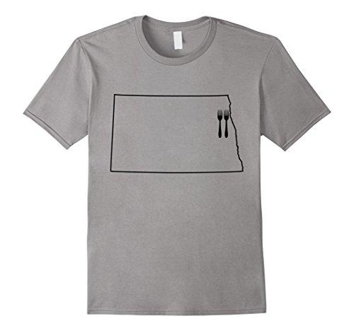 Grand Forks North Dakota (Men's Grand Forks North Dakota Two Forks T Shirt Large Slate)