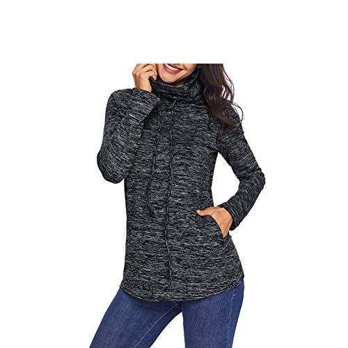 Heeecgoods Fashion New Ladies Felpa Collo Alto Manica Lunga Pullover con Tasca Casual Top Camicette T-Shirt Camicetta Camicia a Tunica (Colore : Nero, Dimensione : S) Nero
