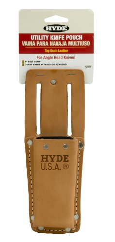 Hyde Tools 42525 Heavy-Duty Leather Angle Head Utility Knife Pouch for 42080 (Sheath Leather Utility Knife)